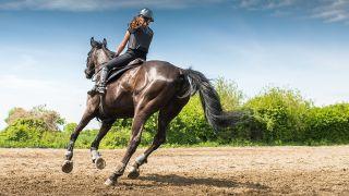 nainen ratsastaa mustalla hevosella